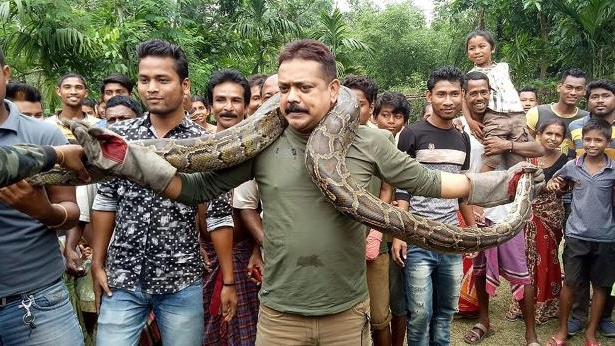a group of people posing for the camera: Forest ranger officer Sanjay Dutta (C), holds a 30 feet long python weighing 90lbs at Sahebbari village in Jalpaiguri district