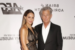 Katharine McPhee, 34, gushes that beau David Foster, 68, is 'so so handsome' adding 'I love you'