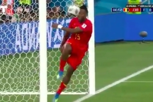 Belgium's Michy Batshuayi blasting ball into his own face is World Cup highlight we can all enjoy