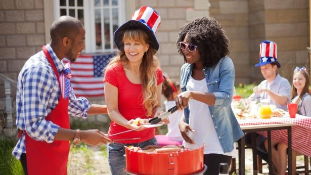 friends having a 4th of July barbecue party