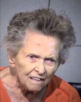 a man smiling for the camera: Anna Blessing, 92, was charged with first-degree murder after police say she fatally shot her son for planning to move her into a nursing home.