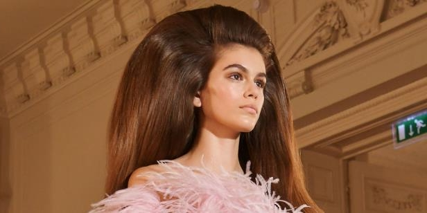 Model Kaia Gerber sported ginormous hair at Valentino's AW18 Couture show.: Kaia Gerber Wears Giant Hair At Couture Week