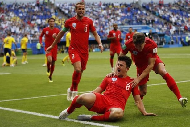 Harry Maguire (front) gave England a 1-0 lead in the first half.