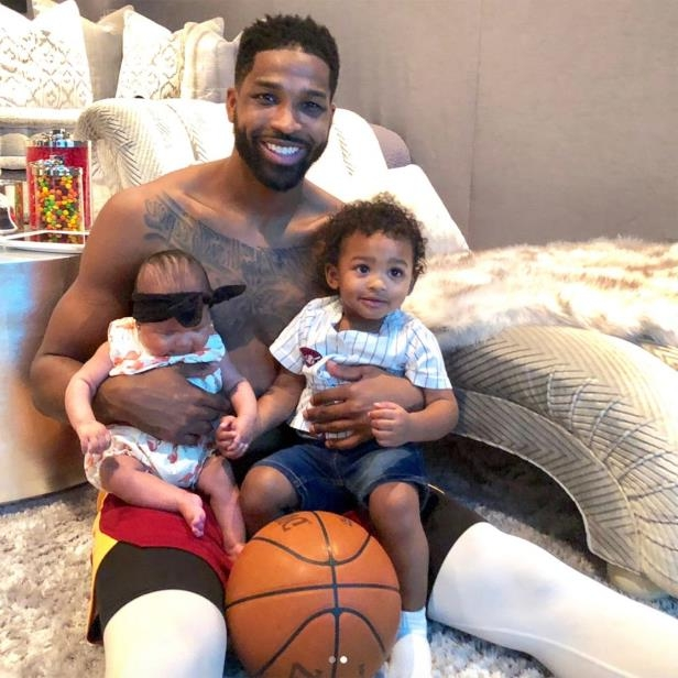 Tristan Thompson holding a baby: Tristan Thompson with son Prince and daughter True
