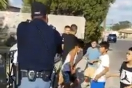 A video posted to Facebook shows an El Paso Police Department officer pulling a gun on a group of boys.