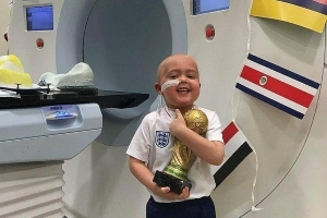 'World Cup' trophy presented to 5-year-old boy battling cancer