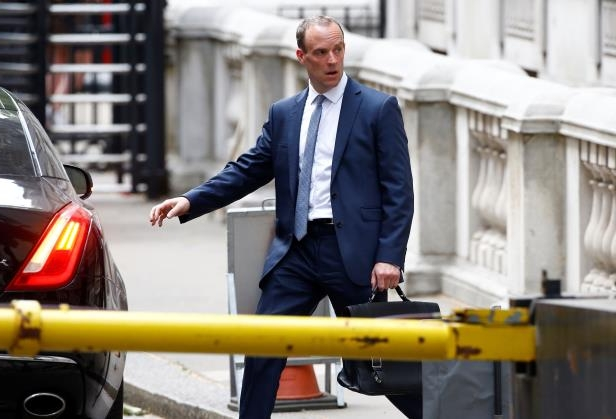 Britain's newly appointed Secretary of State for Exiting the European Union Dominic Raab leaves Downing Street in Westminster, London, Britain, July 9, 2018. REUTERS/Henry Nicholls