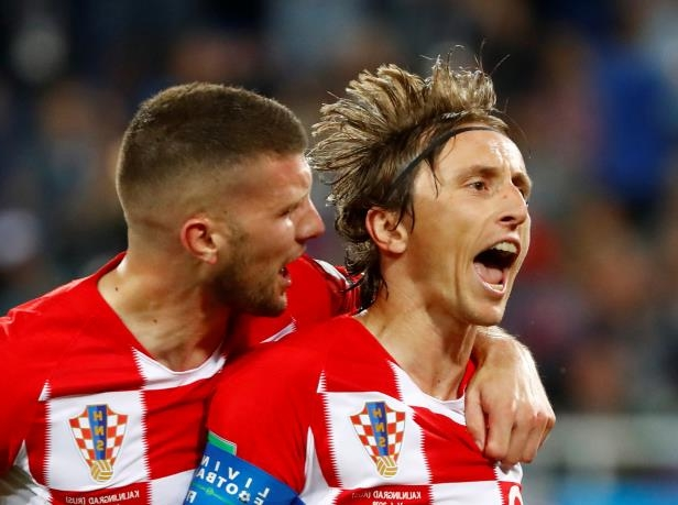 Croatia vs Nigeria: Croatia's Luka Modric celebrates with Ante Rebic scoring their second goal