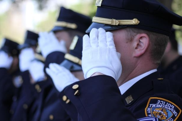 NYPD salute during New York State Roll Call of Heroes at 34th Annual National Peace Officers' Memorial Day Services on the US Capitol.