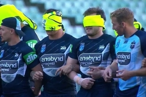 State of Origin stars get blind at training - with the coach's blessing: NSW boss Brad Fittler's bizarre preparations go to another level ahead of game three
