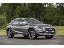 a car parked on the side of a road: 2018 Infiniti QX30