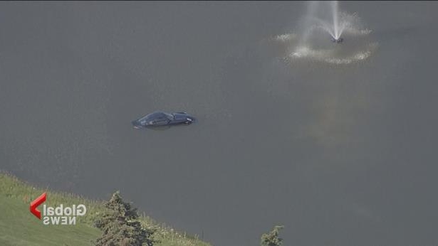 A car plunged into a lake at a Calgary golf course Monday afternoon.
