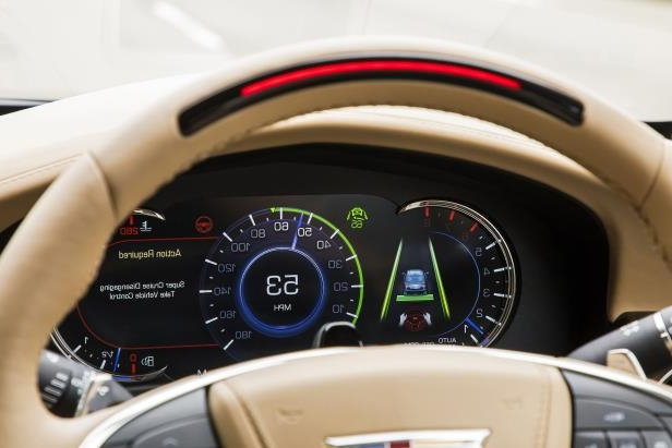 The Cadillac CT6 Super Cruise information system features a light on top of the steering wheel that turns red when the system is no longer available, due to road features (or driver readiness).