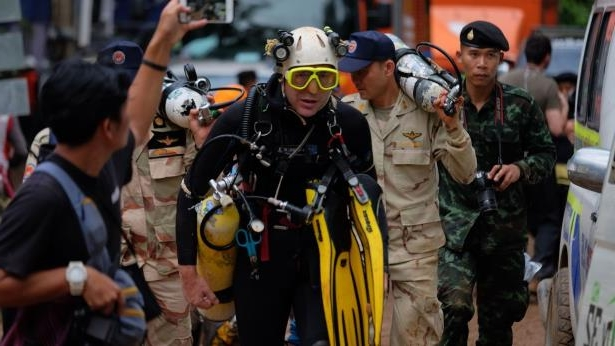 British cave-diver John Volanthen walks out from Tham Luang Nang Non cave in Chiang Rai, Thailand.