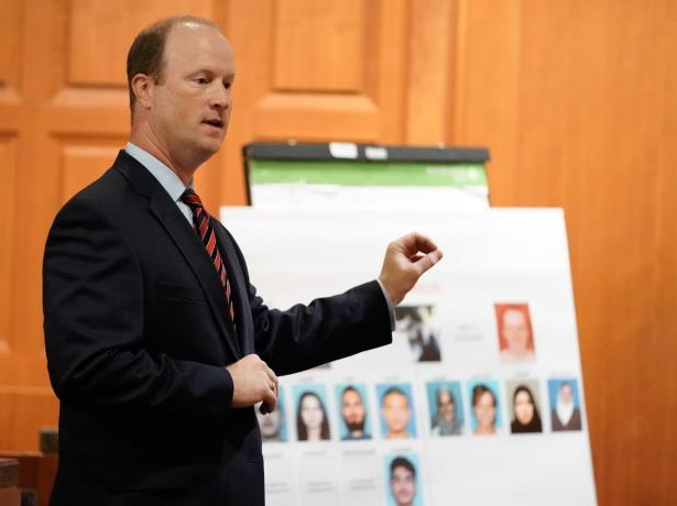 Prosecutor Jon Stephenson gives an opening statement during the capital murder trial of Ali Mahwood-Awad Irsan is shown in court Monday, June 25, 2018. Irsan was charged with capital murder because his alleged crime involved multiple victims — his daughter's best friend, Gelareh Bagherzadeh, an Iranian medical student and activist, and his daughter's husband, Coty Beavers, 28. Both slayings, authorities said, were driven by the anger of Irsan, a conservative Muslim, over his daughter Nesreen's decision to marry Beavers, a Christian from Houston.( Melissa Phillip / Houston Chronicle )