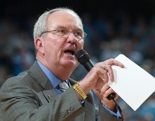 Slide 43 of 63: CHAPEL HILL, NC- CIRCA 2008: Woody Durham voice of the University of North Carolina Tar Heels speaks to the crowd during a game at the Dean E. Smith Center in Chapel Hill, North Carolina. (Photo by North Carolina/Collegiate Images/Getty Images)