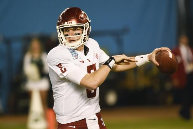 Slide 58 of 63: Washington State quarterback Tyler Hilinski (3) throws during the first half of the Holiday Bowl NCAA college football game against Michigan State Thursday, Dec. 28, 2017, in San Diego. (AP Photo/Denis Poroy)