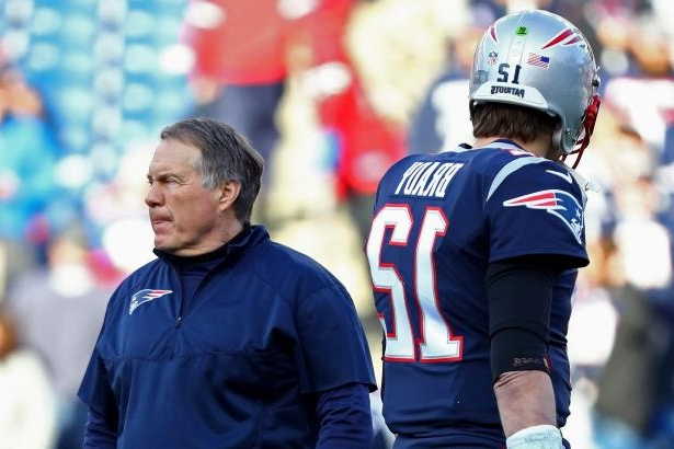 Tom Brady of the New England Patriots and head coach Bill Belichick look on during warm ups before the AFC Championship Game against the Jacksonville Jaguars at Gillette Stadium on Jan. 21, 2018 in Foxborough, Mass.