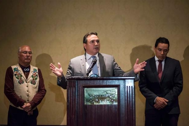 Asif Ali Zardari in a suit and tie: The Assembly of First Nations National Chief Perry Bellegarde (centre), Inuit Tapiriit Kanatami President Natan Obed (left) and Metis Nation (MNC) President Clement Chartier will not meet with the premiers next week in New Brunswick.