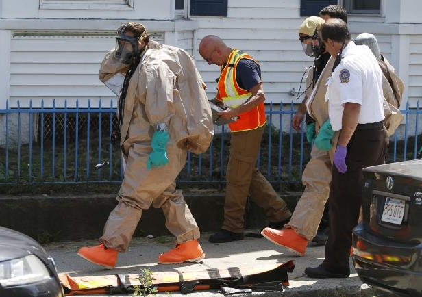 Image: embers of the Hazmat unit respond to the scene of an overdose that killed two peopleMembers of a hazmat team at the scene of a suspected carfentanil overdose that killed two people in Lawrence, Massachusetts, on July 17, 2017. Authorities alerted the team because exposure to even a small amount of carfentanil can cause serious injury or death.