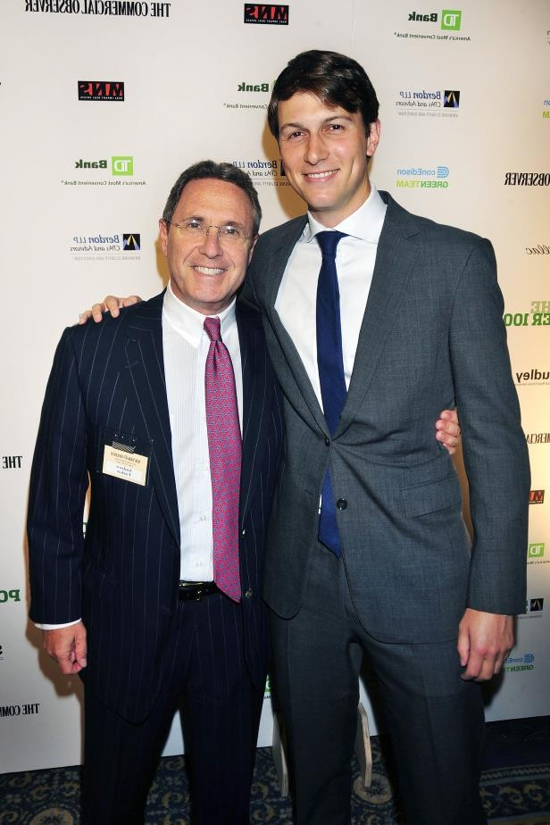 Jared Kushner wearing a suit and tie: Mr. Kushner in 2011 with Andrew Farkas, whose company backed the Kushner Companies' purchase of two apartment buildings in Hackensack, N.J., for about $102 million this year.