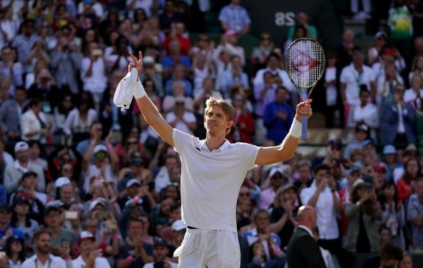 Kevin Anderson celebrates his win against Roger Federer (John Walton/PA)