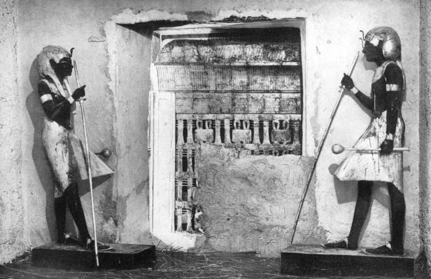 Slide 16 of 18: he first glimpse of Tutankhamun's tomb, Egypt, 1933-1934. The sight that met the eyes of Lord Carnarvon and Howard Carter when they broke down the sealed doorway which divided the ante-chamber of the tomb and the sepulchral hall of the departed Pharaoh. The discovery of Tutankhamun's tomb in 1922 by British archaeologist Howard Carter (1874-1939) was one of the most astounding discoveries in archaeology. Tutankhamun was a previously unknown pharaoh whose name had been eradicated from historical records by one of his successors because of his association with the heretical pharaoh Akhenaten, who was Tutankhamun's father-in-law. Consequently his tomb, uniquely, had remained undisturbed by grave robbers. A print from Wonders of the Past, Volume I, 1933-1934. (Photo by The Print Collector/Print Collector/Getty Images)