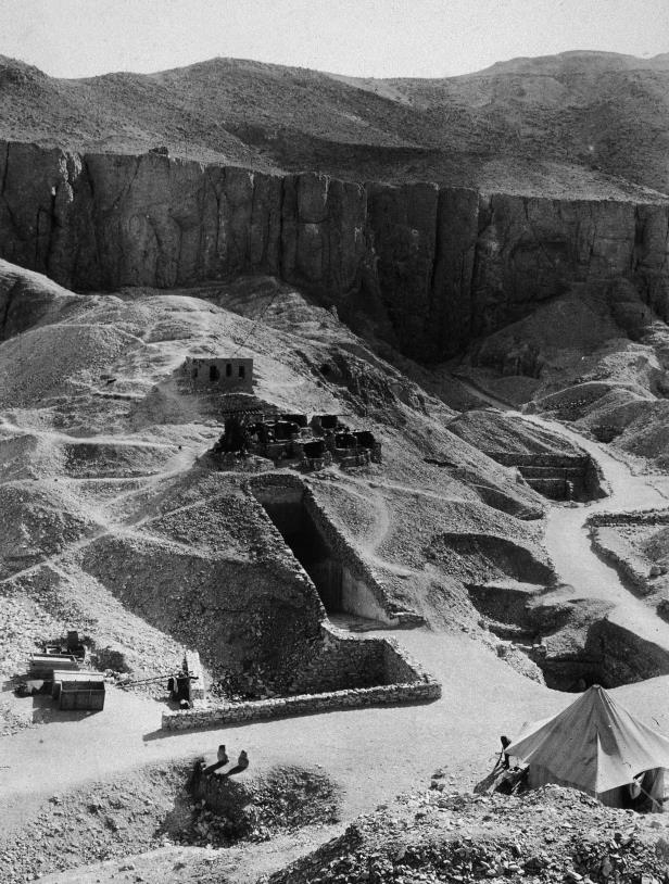 Slide 18 of 18: Aerial view of Howard Carter's archaeological excavations of the tombs of the Pharoahs Ramesses VI and Tutankhamen (better known as King Tut), Valley of the Kings, Thebes, Egypt, 1922. Hulton Archive/Getty Images/Getty Images