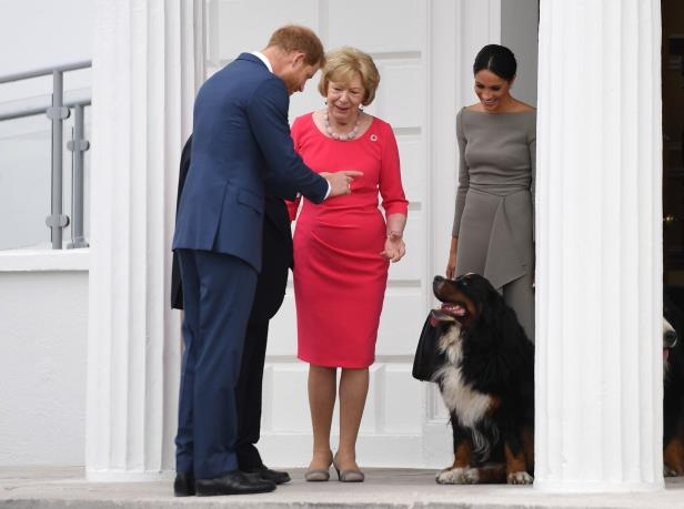Slide 44 of 86: The Duke and Duchess of Sussex with Sabina Higgins