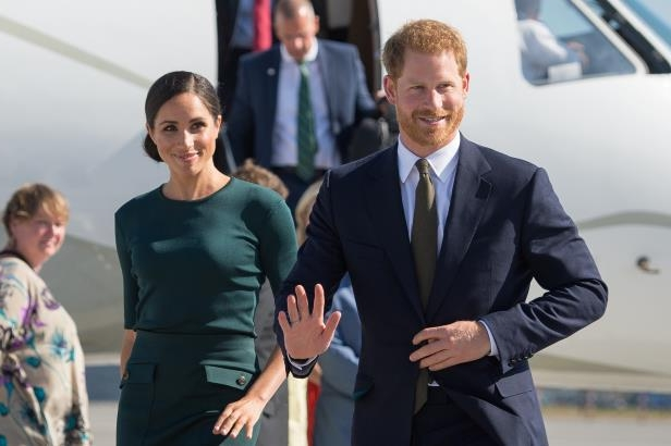 Slide 76 of 86: Britain's Prince Harry and his wife Meghan, the Duke and Duchess of Sussex, arrive at Dublin City Airport for a two-day visit to Dublin, Ireland July 10, 2018.  Dominic Lipinski/Pool via REUTERS
