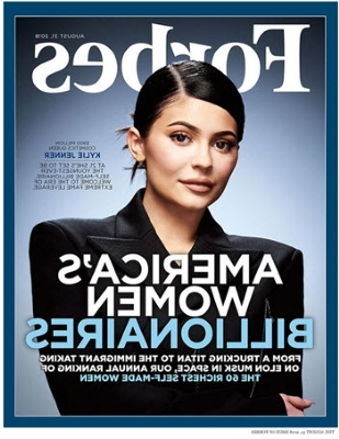 a close up of a newspaper: The cover of Forbes with Kylie Jenner.
