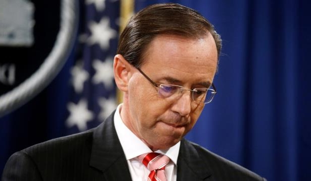 Deputy Attorney General Rod Rosenstein pauses while announcing grand jury indictments of 12 Russian intelligence officers in special counsel Robert Mueller's Russia investigation, during a news conference at the Justice Department in Washington, July 13, 2018.