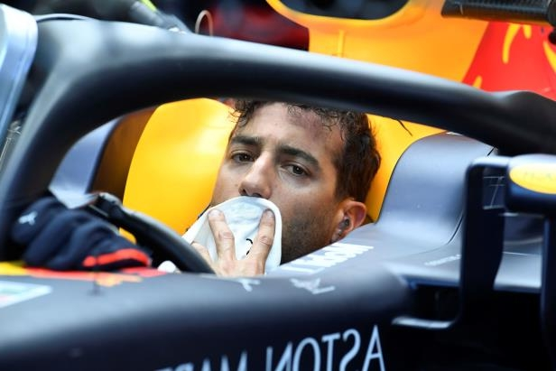 Red Bull driver Daniel Ricciardo of Australia gets a pit service during the first free practice at the Hockenheimring racetrack in Hockenheim, Germany, Friday, July 20, 2018. The German Formula One Grand Prix will be held on Sunday, July 22, 2018. (AP Photo/Jens Meyer)