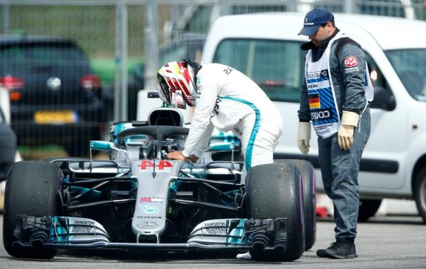 Formula One F1 - German Grand Prix - Hockenheimring, Hockenheim, Germany - July 21, 2018   Mercedes' Lewis Hamilton gets out of his car during qualifying    REUTERS/Ralph Orlowski
