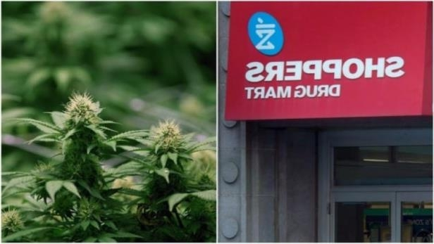 a sign on the side of a building: Shoppers Drug Mart's deal with Aurora comes after it recently signed similar deals with licensed medical marijuana producers Aphria, MedReleaf and Tilray.