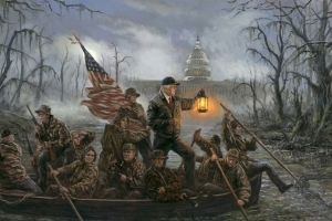Painting of Trump team 'Crossing the Swamp' touches off social media frenzy