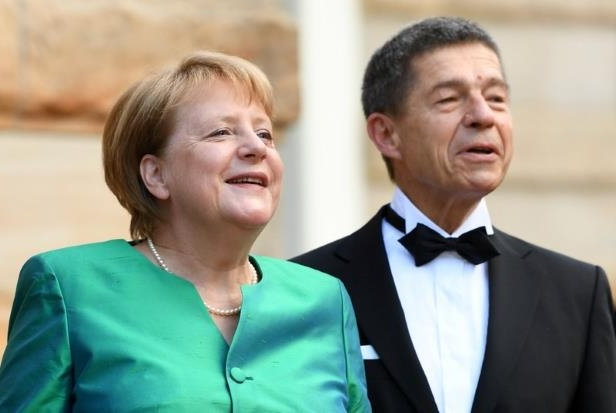Angela Merkel wearing a suit and tie: German Chancellor Angela Merkel was last seen in public with her husband,  Joachim Sauer, on July 25, 2018, at the Bayreuth Festival in Bavaria.