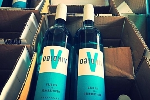 Blue wine hits the shelves in France