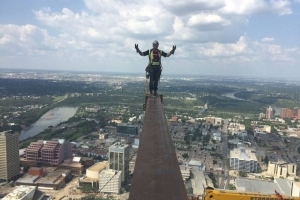 Nerves of steelworkers: Crews pose (safely) atop Edmonton's tallest building