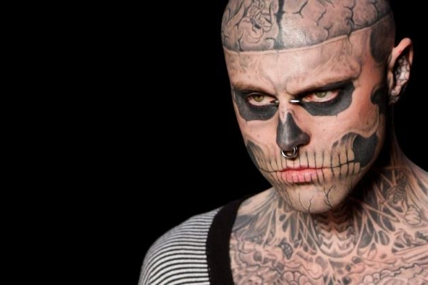 Rick Genest wearing a costume: Rick Genest's body-art attracted fashion designers and he modelled at high-end shows in Paris and Berlin.