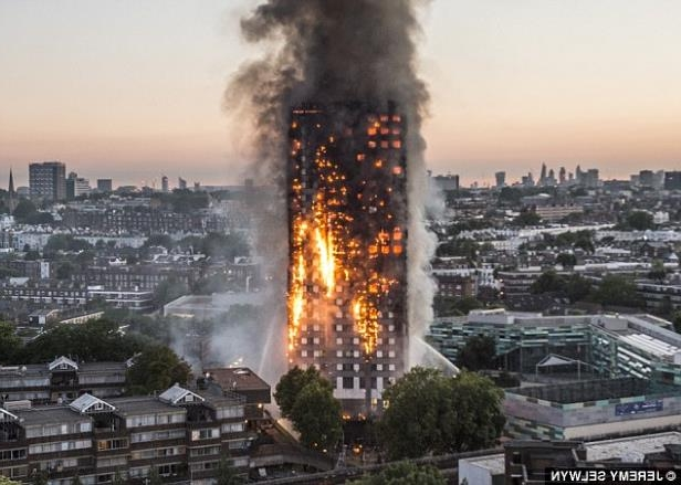 a view of a city with smoke coming out of it: An assessment of Grenfell Tower in June 2016, after the block was refurbished, recommended action on more than 40 'high risk' issues within two to three weeks