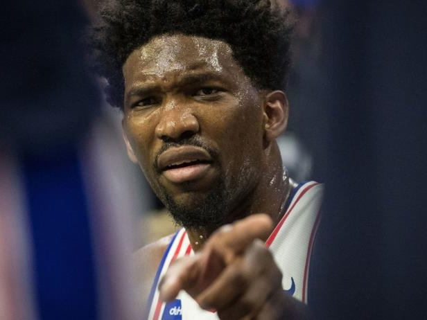 Joel Embiid looking at the camera