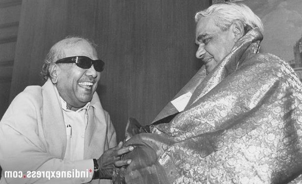 Slide 12 of 15: Former prime minister Atal Behari Vajpayee with M Karunanidhi at a meeting in New Delhi. (Express archive photo)