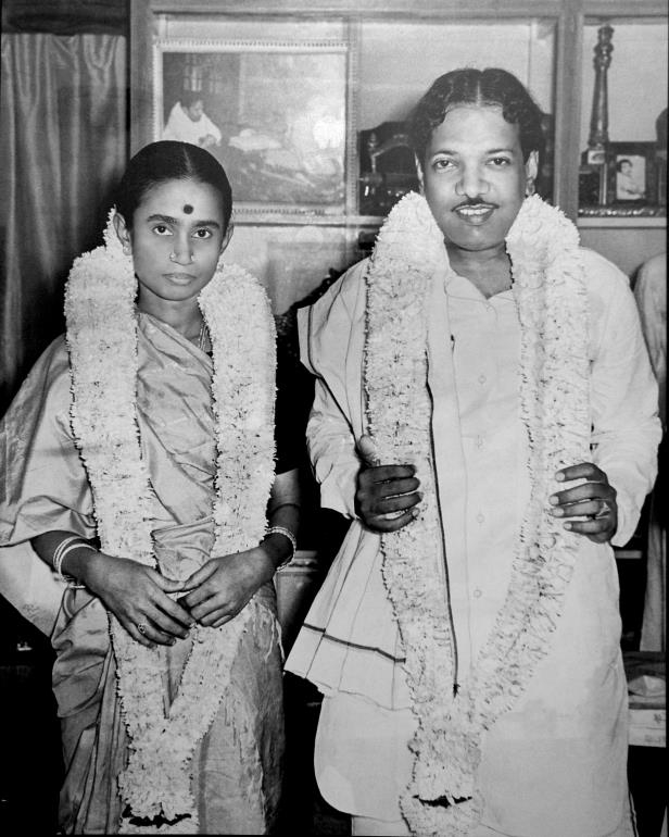 Slide 3 of 15: Karunanidhi with second wife Dayalu (Express archive photo)