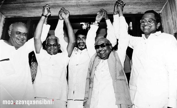 Slide 6 of 15: The Dravidian veteran was first elected to the state Assembly from Kulithalai in then undivided Tiruchirappally in 1957. In Pic: P. Chidambaram, Karunanidhi, Chander Babu Naidu, GK Moopanar and HD Deve Gowda at a meeting for alliance at Tamil Nadu house. (Express archive photo)