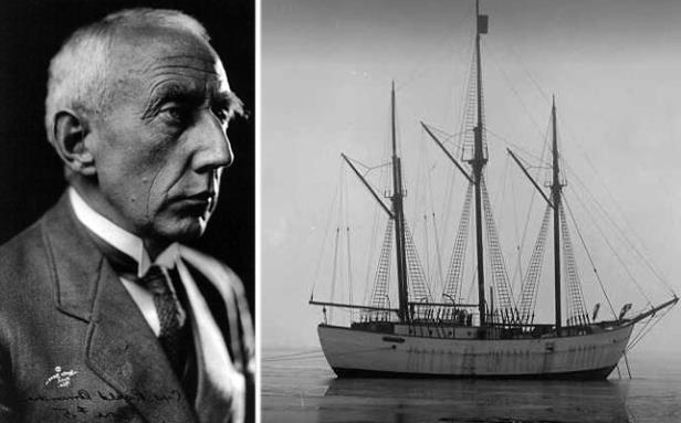 a man standing in front of a large ship in a body of water: Norwegian explorer Roald Amundsen tried to reach the North Pole in the Maud.