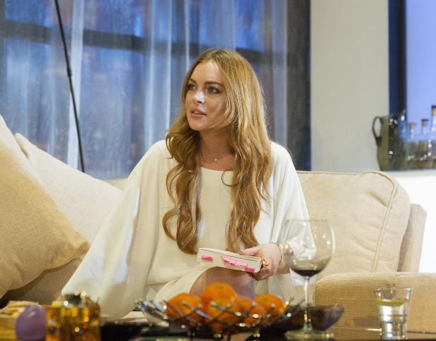 Slide 28 of 37: 'Speed the Plow' play performed at the Playhouse Theatre, London Britain, Britain - 30 Sep 2014 Lindsay Lohan as Karen,