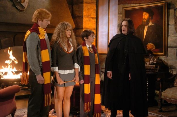 Slide 7 of 37: SATURDAY NIGHT LIVE -- Episode 18 -- Air Date 05/01/2004 -- Pictured: (l-r) Will Forte as Professor Snape, Rachel Dratch as Harry Potter, Lindsay Lohan as Hermione, Seth Meyers as Ron during the 'Hogwarts Academy' skit on May 1, 2004  (Photo by Dana Edelson/NBC/NBCU Photo Bank via Getty Images)