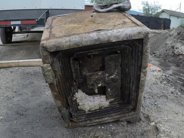 The buried safe found in Dawson City on Saturday by construction workers. It's unknown what might be inside.