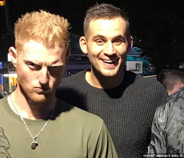 a group of people posing for the camera: Stokes and teammate Alex Hales were together (pictured on the night) after celebrating with the England cricket team, who had just beaten the West Indies in a one-day international